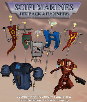 Scifi MarineJet Pack & Banners Software Props/Scenes/Architecture Themed Simon-3D