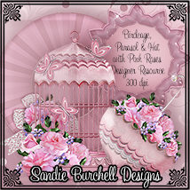 Sandie Burchell's Birdcage, Parasol & Hat with Pink Roses Designer Resource 2D And/Or Merchant Resources Themed SandieBurchell
