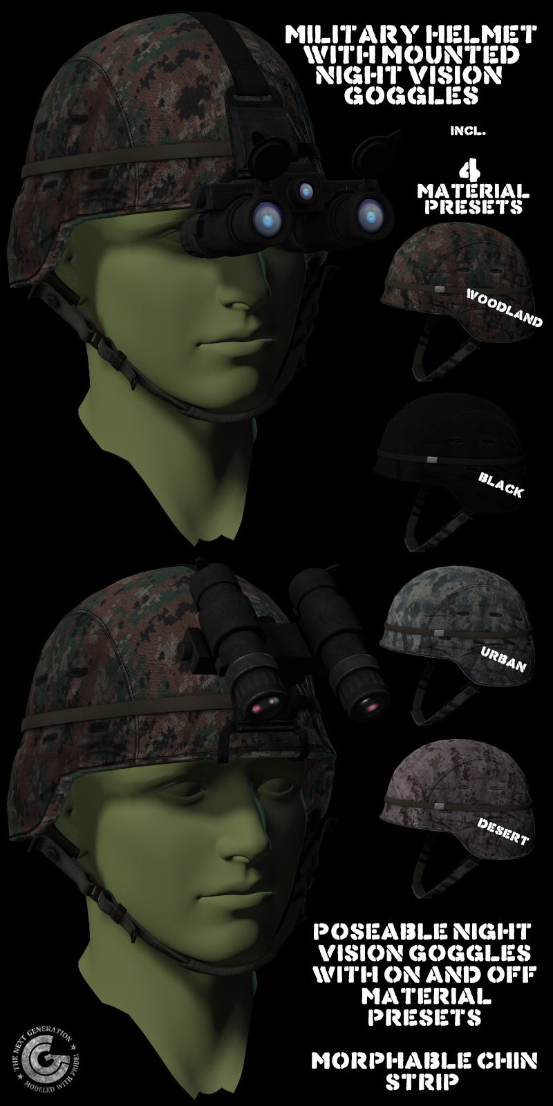 Helmet with NV Goggles