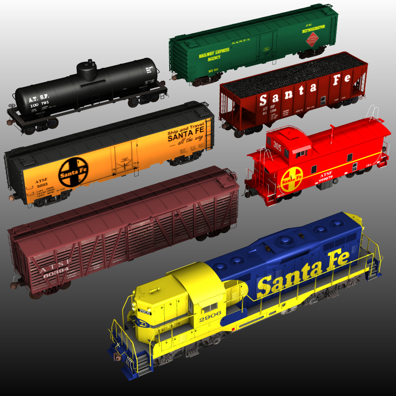 ATSF FREIGHT TRAINBUNDLE for Poser