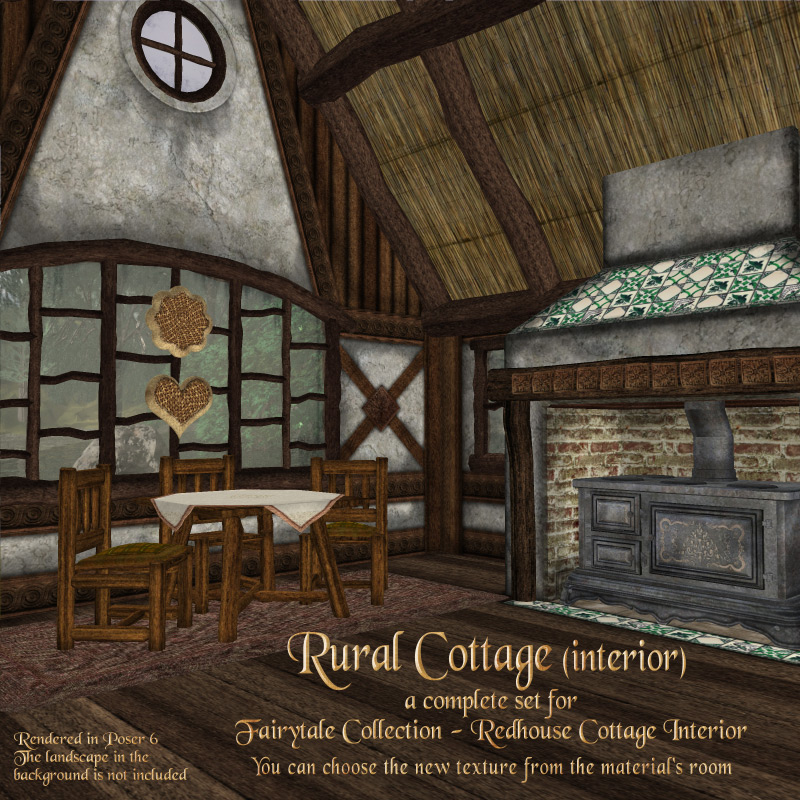 Rural Cottage Interior 3D Models RAGraphicDesign