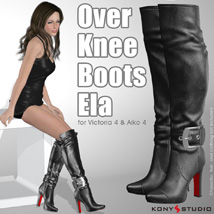 Over Knee Boots Ela 3D Figure Assets kony