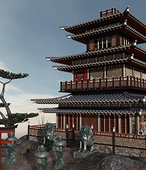 Eastern Temple Themed Props/Scenes/Architecture ile-avalon