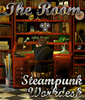 Steampunk Work Desk - The Room 3D Models Cybertenko