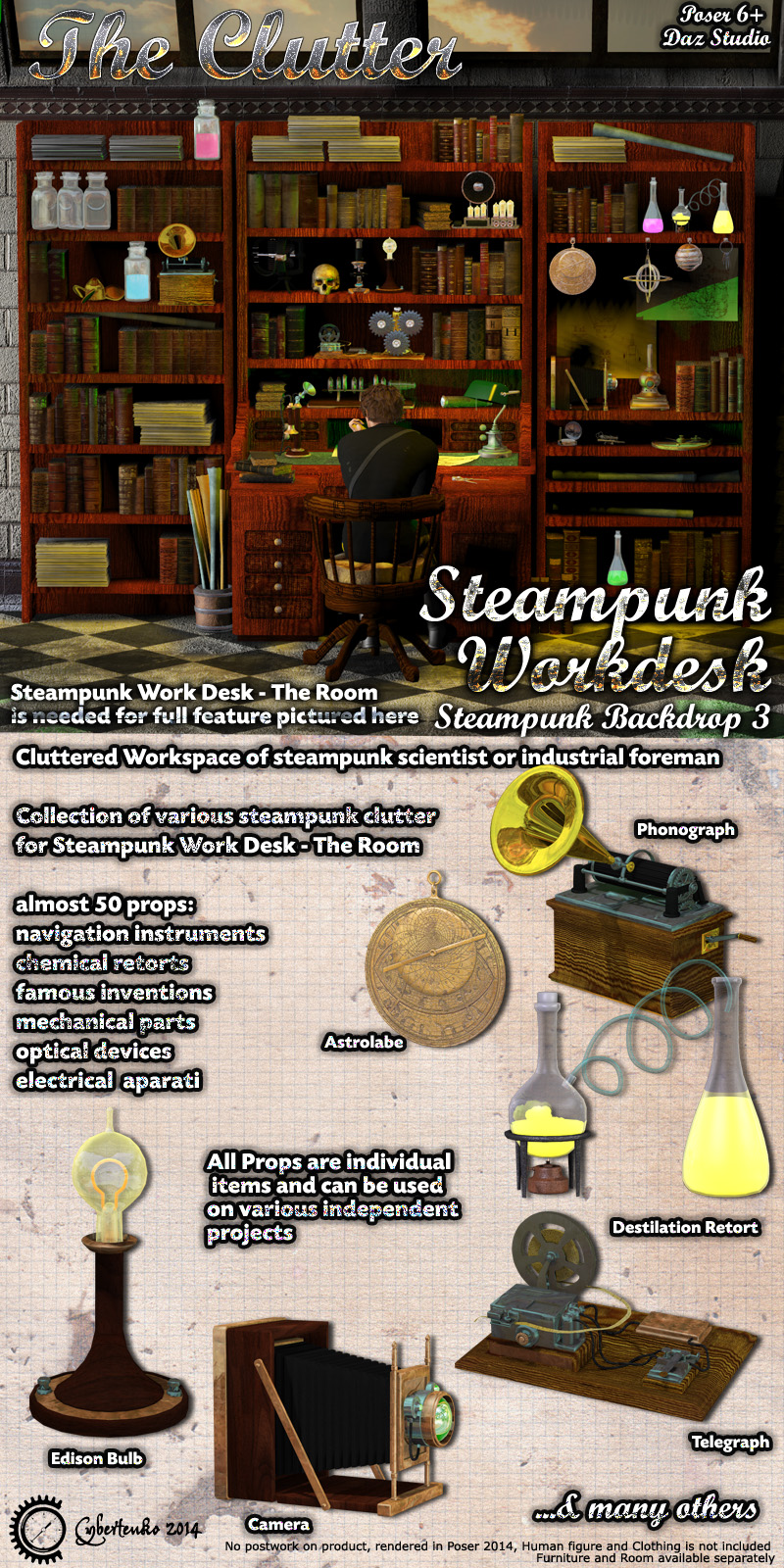 Steampunk Work Desk - The Clutter