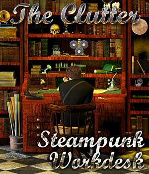 Steampunk Work Desk - The Clutter Props/Scenes/Architecture Themed Cybertenko
