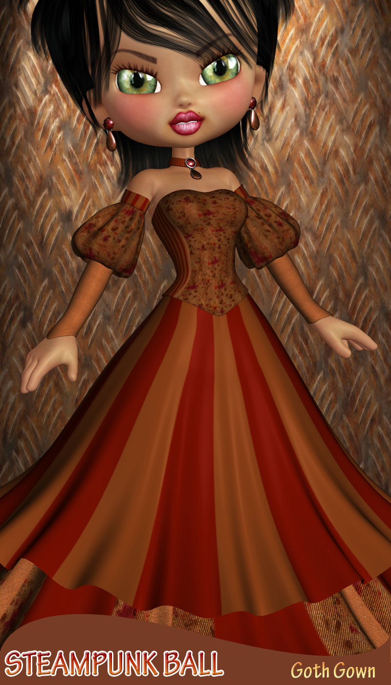 Steampunk Ball for Goth Gown for Cookie 3D Figure Assets ANG3L_R3D