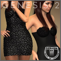 BodyCon Dress for Genesis 2 Female(s) 3D Figure Assets 3D Models outoftouch