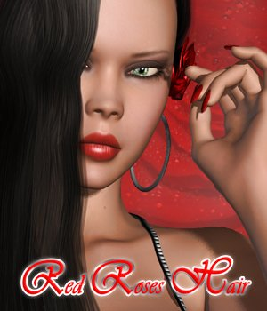 Red Roses Hair 3D Figure Assets Pretty3D