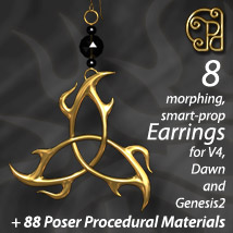 Pd-Tri-Knot Earrings V4-Dawn-Genesis2 3D Figure Essentials parrotdolphin