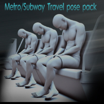 Metro Subway Travel pose pack 3D Figure Assets D_jerry