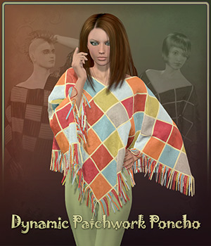 Dynamic Patchwork Poncho 3D Figure Assets Frequency