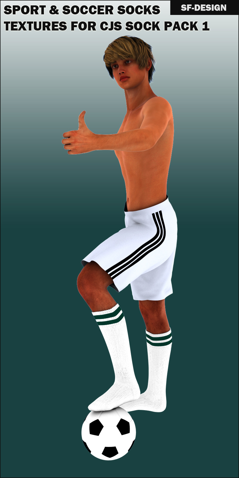 Sport and Soccer Socks Texture Add On for CJS Sock Pack 1 for Genesis