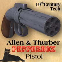 Allen & Thurber Pepperbox Pistol Props/Scenes/Architecture Themed Accessories Michael_C