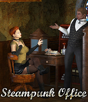 Steampunk Office Themed Props/Scenes/Architecture Cybertenko