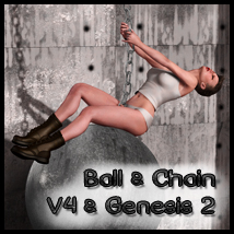 Ball & Chain for V4 and Gen 2 Females 3D Figure Essentials 3D Models -dragonfly3d-