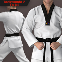 Taekwondo Suit 2 for M4 3D Figure Assets zollacce