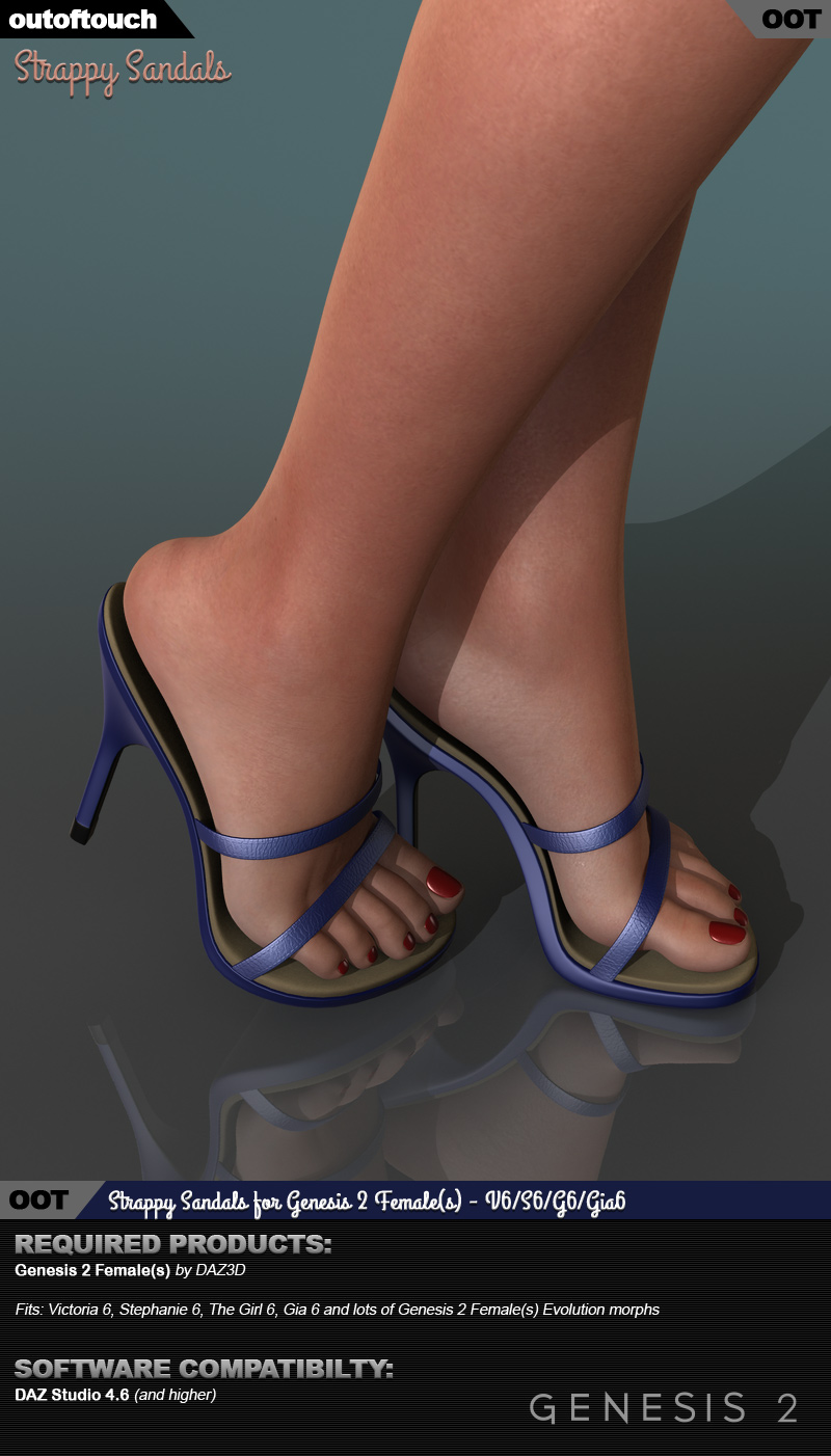 Strappy Sandals for Genesis 2 Female(s)