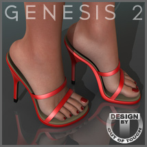 Strappy Sandals for Genesis 2 Female(s) 3D Figure Essentials outoftouch
