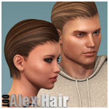 Alex Hair for Genesis 2 Female(s) & Male(s) 3D Figure Assets outoftouch