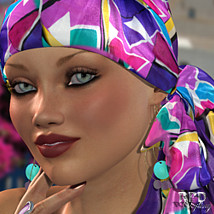 70s Headscarf - SilkyKnots 3D Figure Essentials renapd