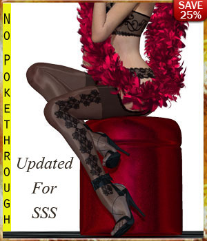 B#1 1 Click Sexy Stockings Lingerie Super Skinz Bodygloves 3D Figure Essentials 3D Models lululee