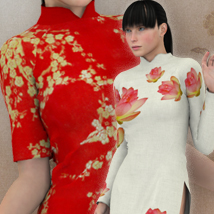 Aodai Dress for V4 3D Models 3D Figure Essentials SJFASHION