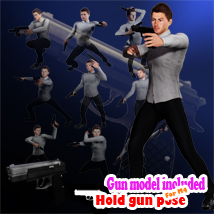 Hold gun poses for M4 3D Figure Assets Darkmusic