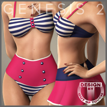 Retro Swimwear Trio for Genesis 2 Female(s) 3D Figure Assets 3D Models outoftouch