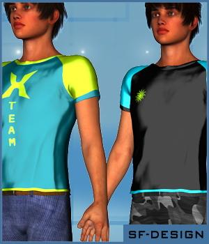 Style Add-On for DAZ's Cargo Shorts and Tee for Genesis 2 Male(s) 3D Figure Assets SF-Design
