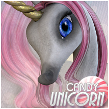 Candy Unicorn Mane/Hair 3D Models Sveva