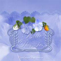 Blue Pansies 2D And/Or Merchant Resources Themed cornucopiaart