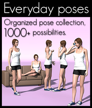Everyday poses collection V4 3D Figure Assets 2nd_World