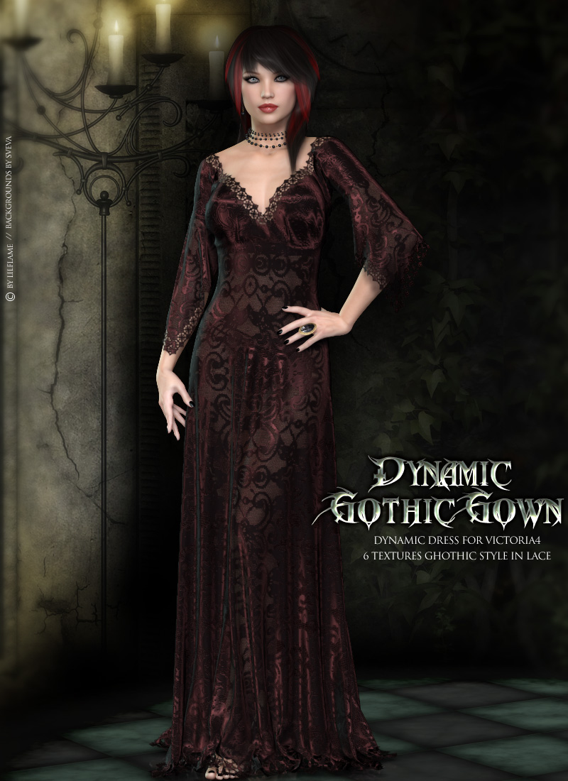 Dynamic Gothic Gown V4 3D Figure Assets lilflame