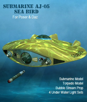 Submarine Sea Bird AJ05 3D Models Software Simon-3D