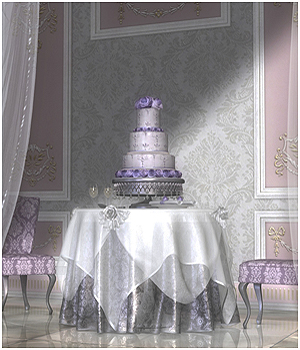 GCD Wedding Cake & Table Set Props/Scenes/Architecture Software Themed GrayCloudDesign