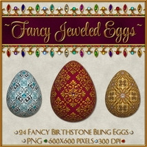 Birthstone Bling!: Fancy Jeweled Eggs 2D 3D Models fractalartist01