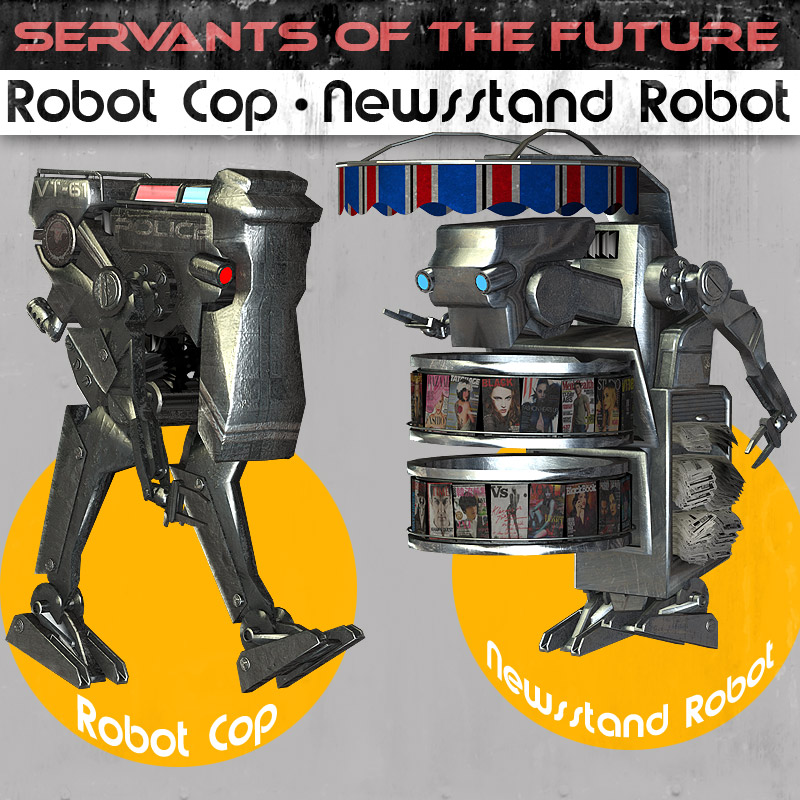 Servants of the future Robot Cop & Newsstand Robot