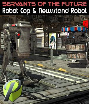 Servants of the future Robot Cop & Newsstand Robot Stand Alone Figures Themed powerage