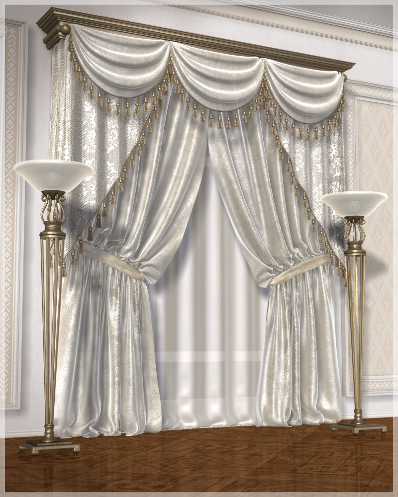 Classic curtains set1 3d models grayclouddesign for Decor 3d model
