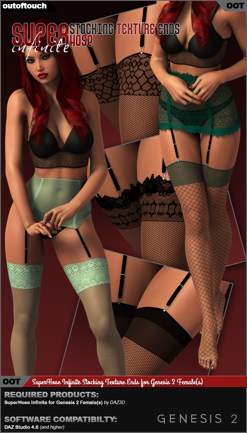 SuperHose Infinite Stocking Texture Ends for Genesis 2 Female(s)