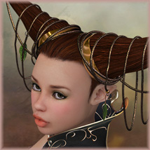 Faerie Ties Hair 3D Figure Essentials Amaranth