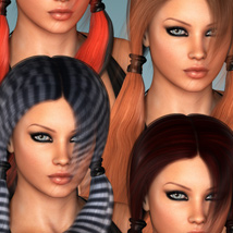 Sporty Pigtails Hair and OOT Hairblending image 2