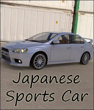 Japanese Sports Car (Poser, Vue, obj) Gaming 3D Models RPublishing
