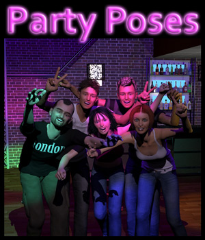 Party Poses for V4 & M4 3D Figure Assets 2nd_World