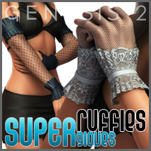 SuperGloves Infinite Ruffle Ends for Genesis 2 Female(s) 3D Figure Assets outoftouch