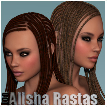 Alisha Rasta Hair for V4 and G2F 3D Figure Essentials outoftouch