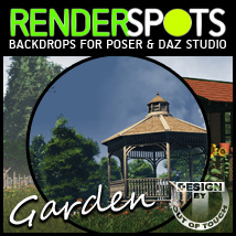 RenderSpots Garden for Poser and DAZ Studio 2D 3D Models Lights and Cameras outoftouch