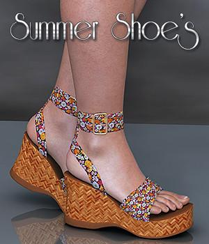 NYC Summer Shoes for Summer Shoes Pack 3D Figure Assets 3DSublimeProductions