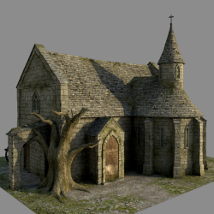 Medieval Church - Extended License 3D Models 3D Figure Essentials Gaming Dante78